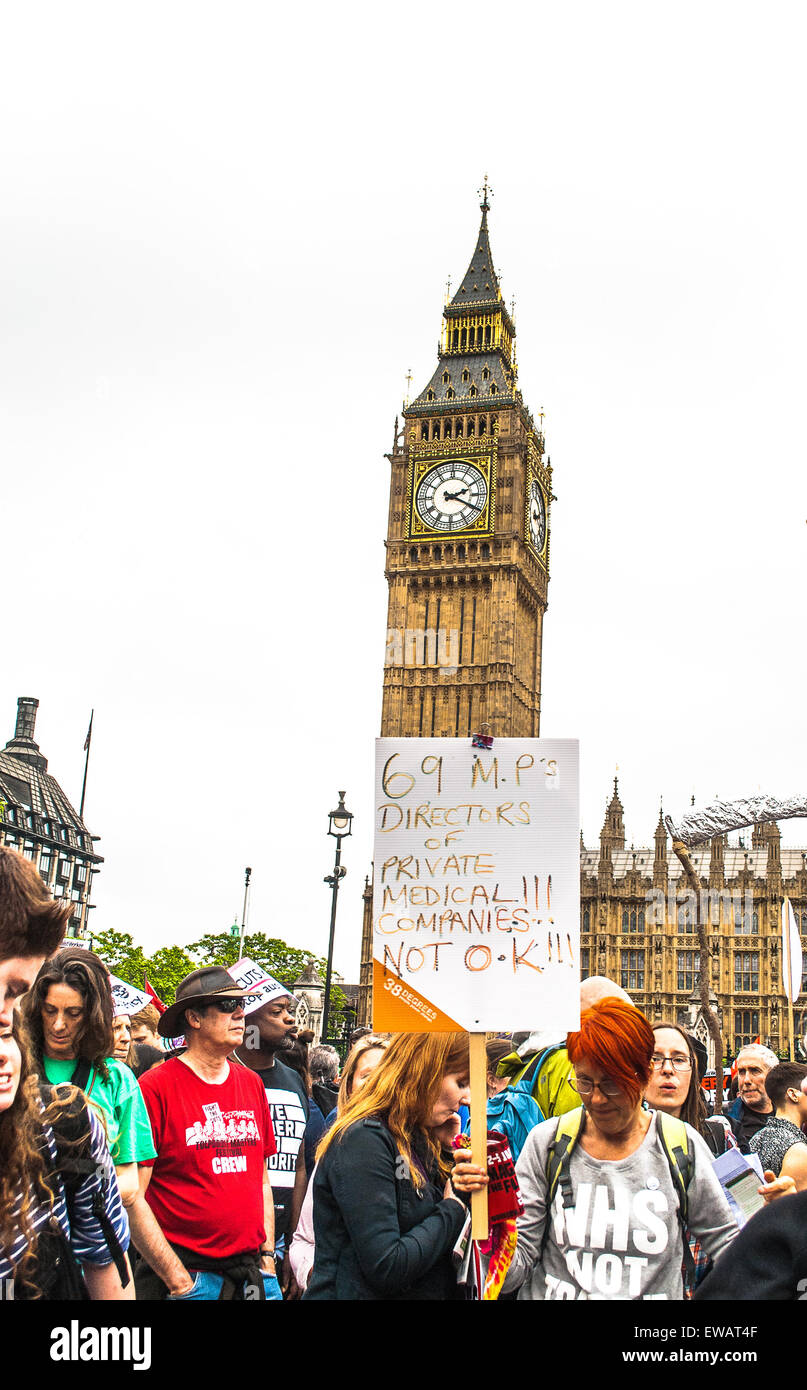 Protesters during the Anti Austerity march in London 2015 - Stock Image