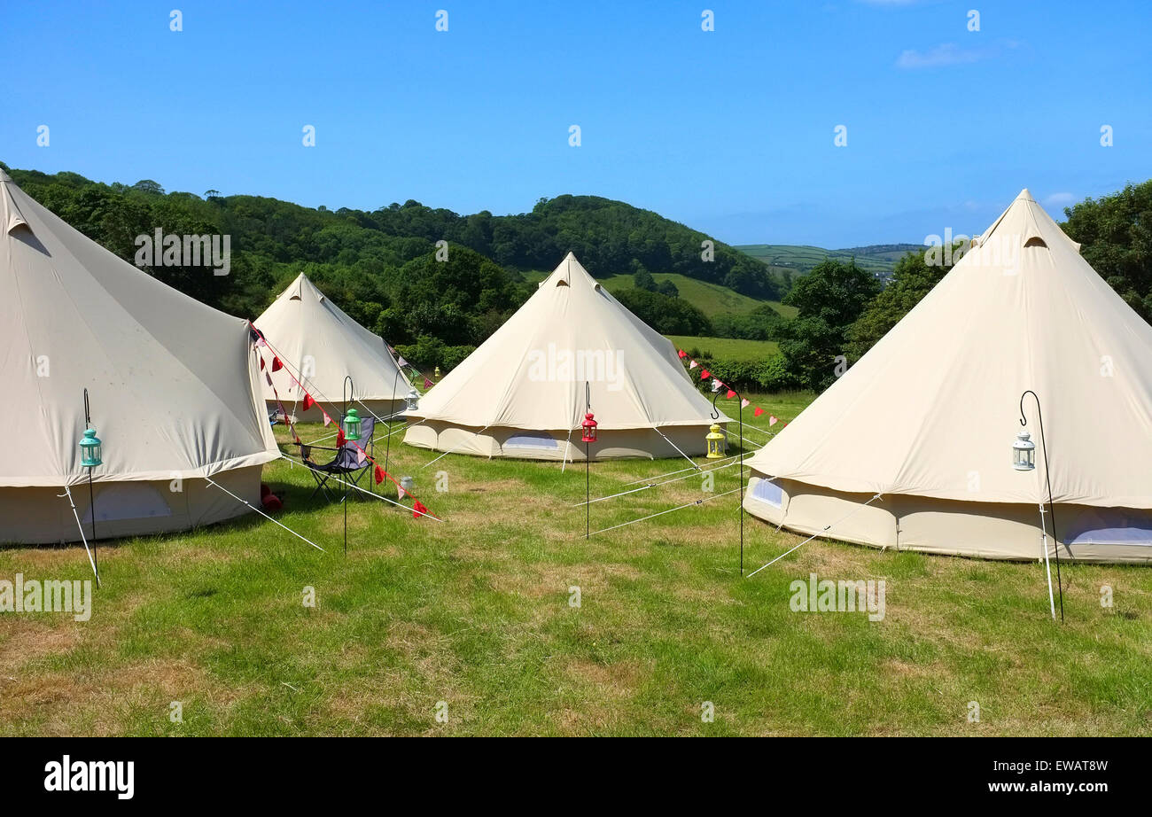 Glamping at Mount Edgcumbe country park in Cornwall, UK - Stock Image
