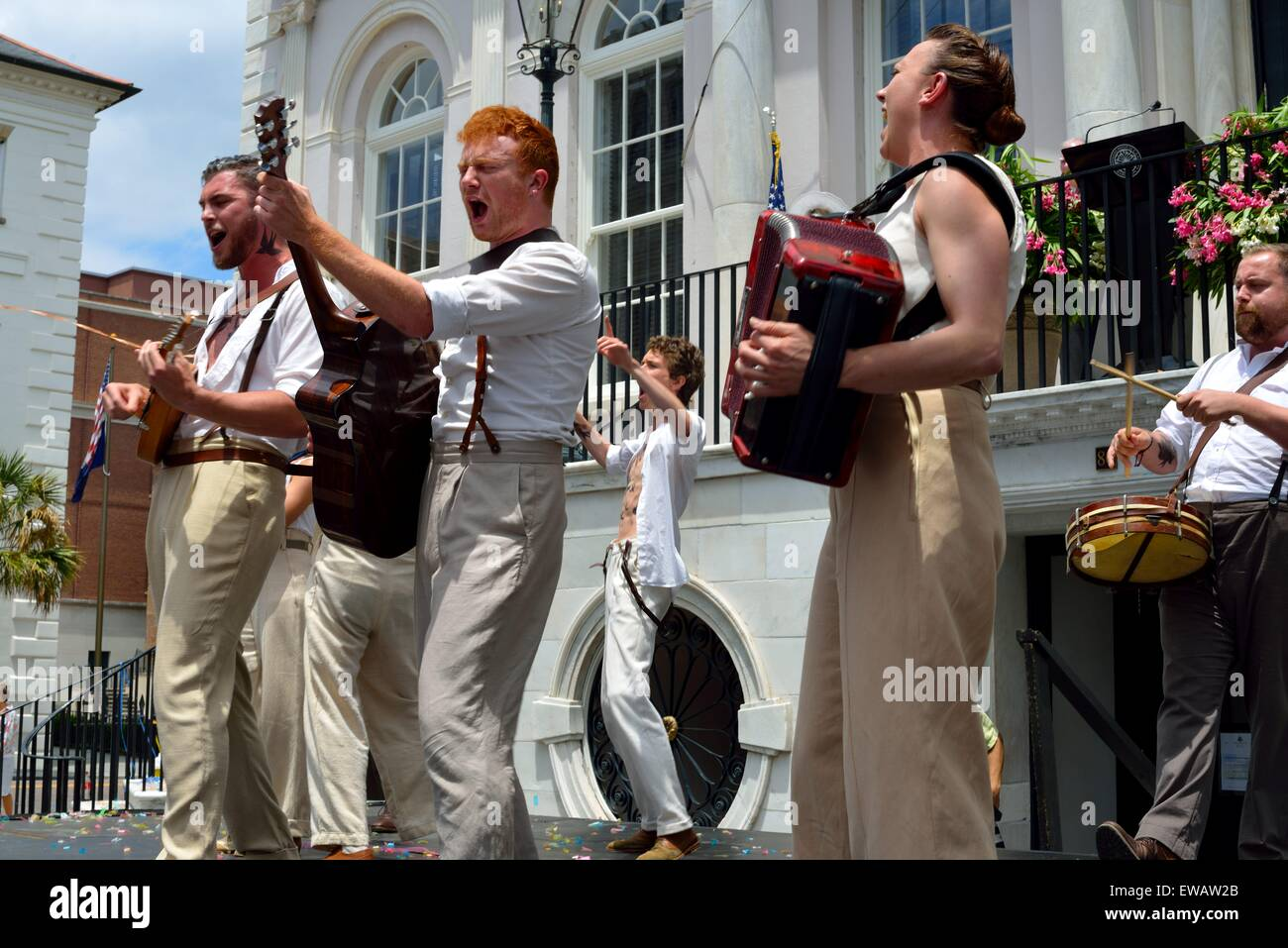 Cast members of New Globe Theater perform at Spoleto Festival - Stock Image