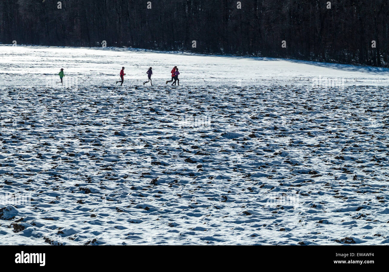 Five joggers running across a snowy field in winter - Stock Image