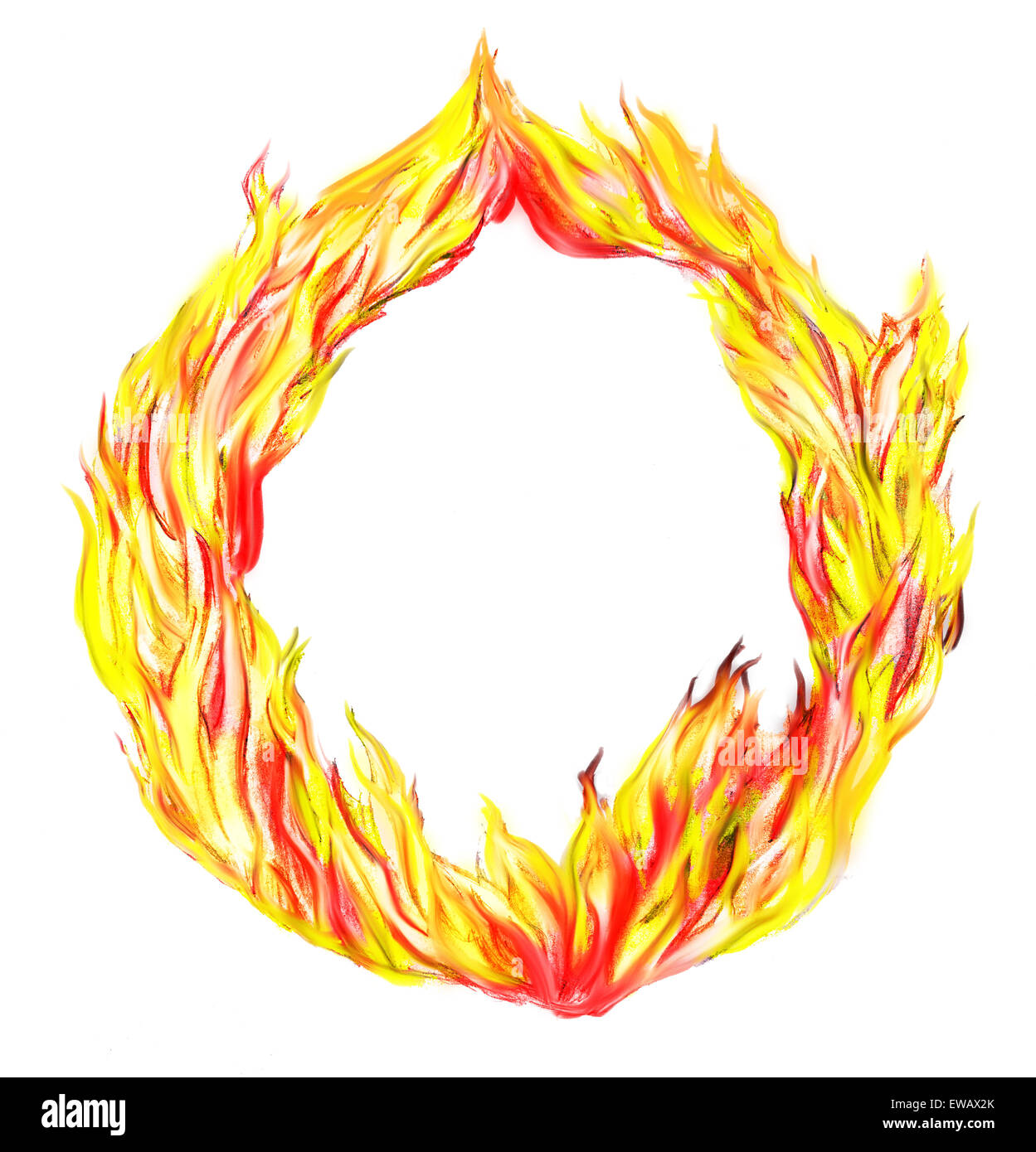 fire in circle isolated on a white background - Stock Image
