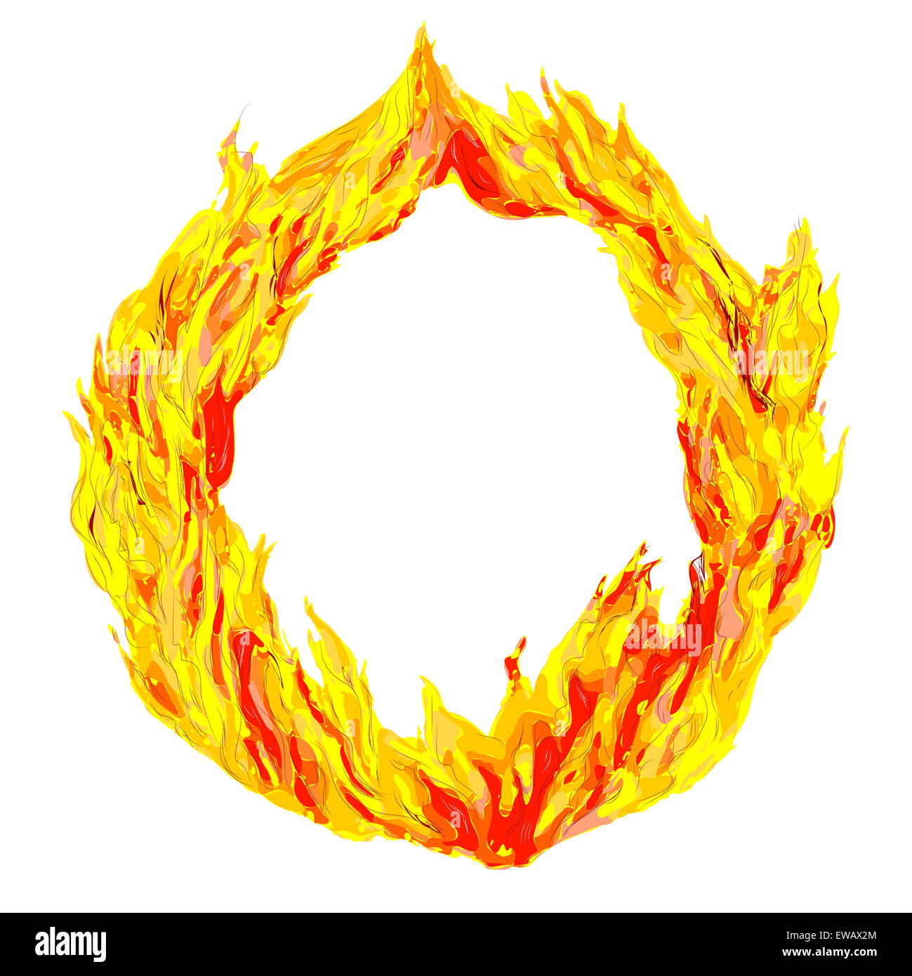 fire circle isolated on a white background - Stock Image