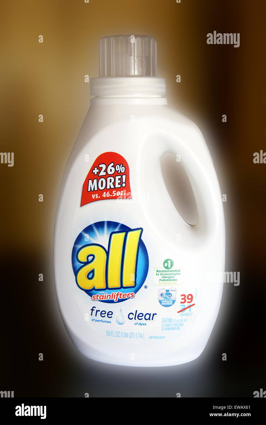 Illustrative editorial of 59 ounce bottle of brand name 'All with Stainlifters' laundry detergent from Sun - Stock Image