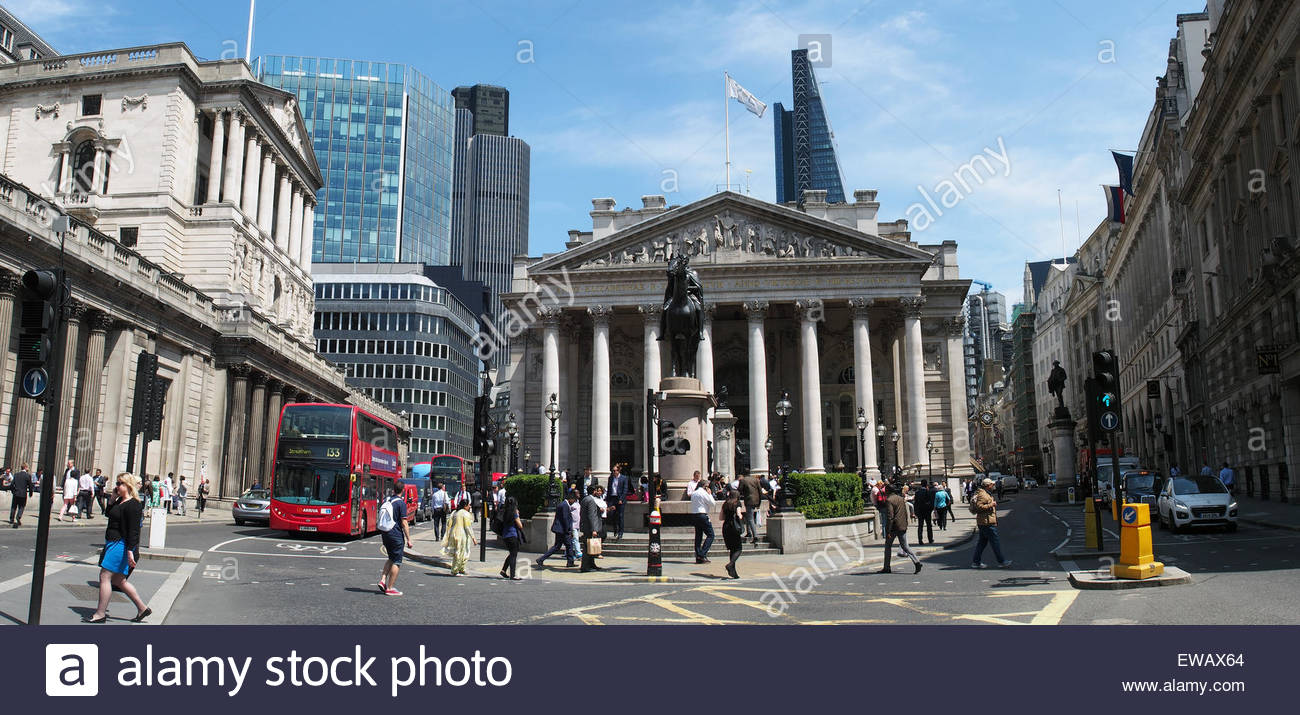 View of the Royal Exchange and Bank of England at the junction of Threadneedle Street and Cornhill in London - Stock Image