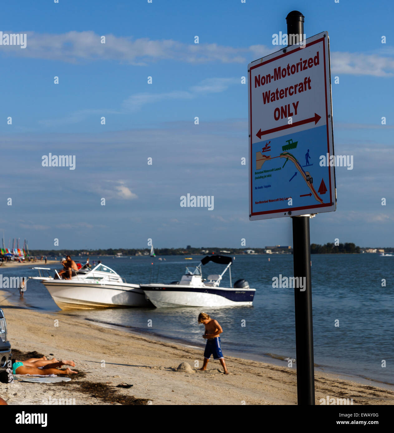 Motor boat owners ignoring Non-motorized watercraft only sign - Stock Image
