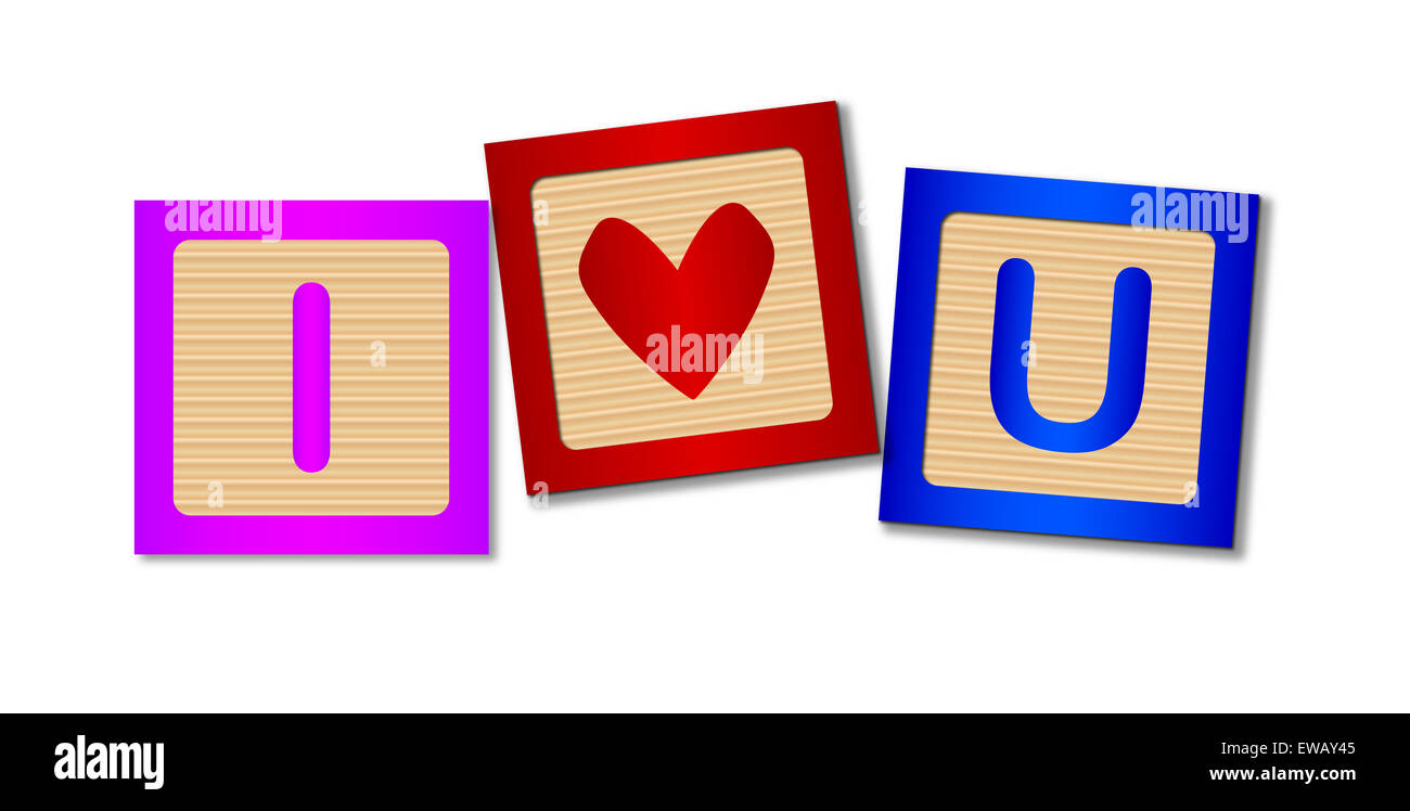 Wooden blocks making up the words I Love You - Stock Image
