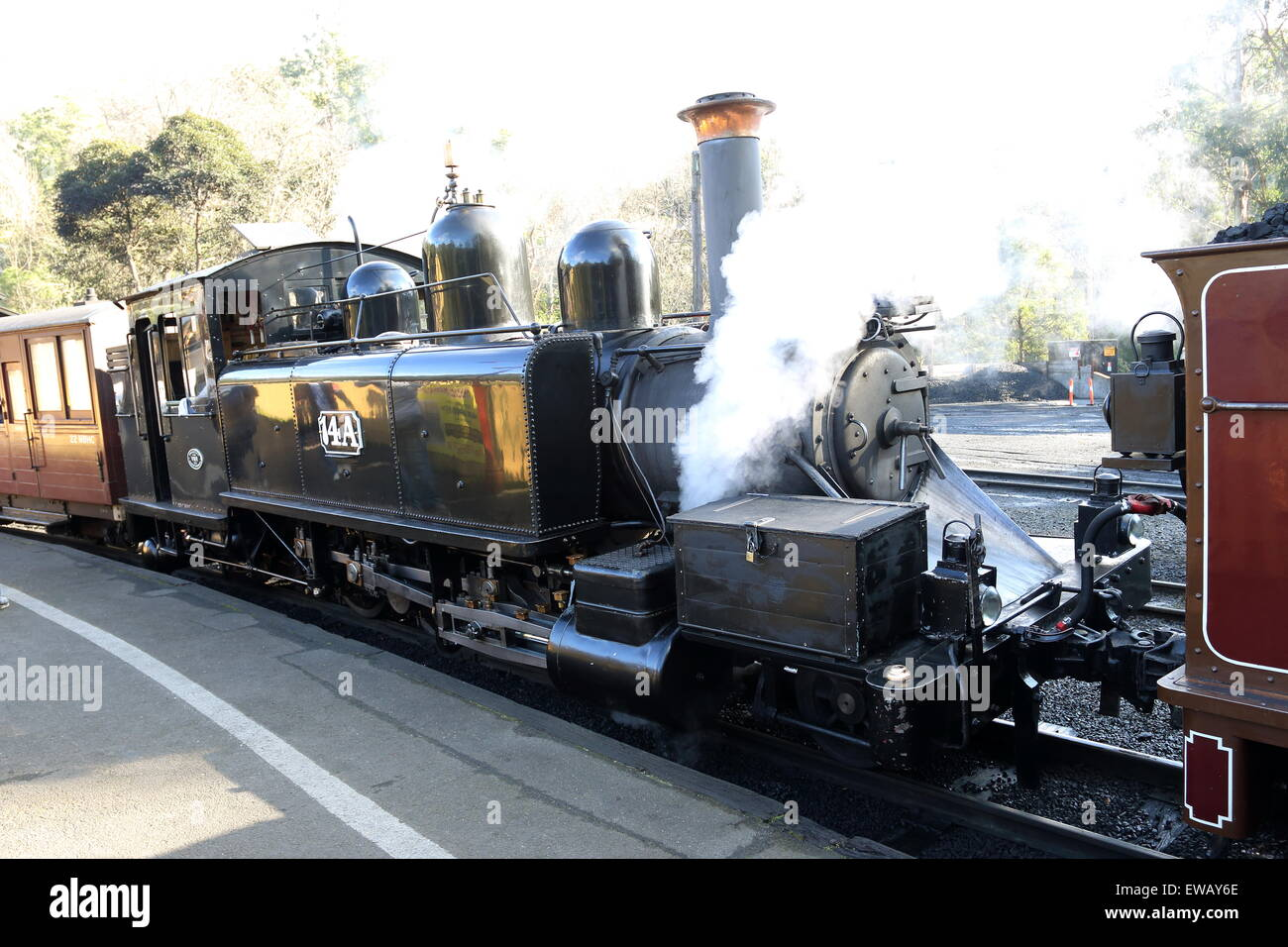 Puffing Billy Steam train at Dandenong Ranges Victoria Australia - Stock Image