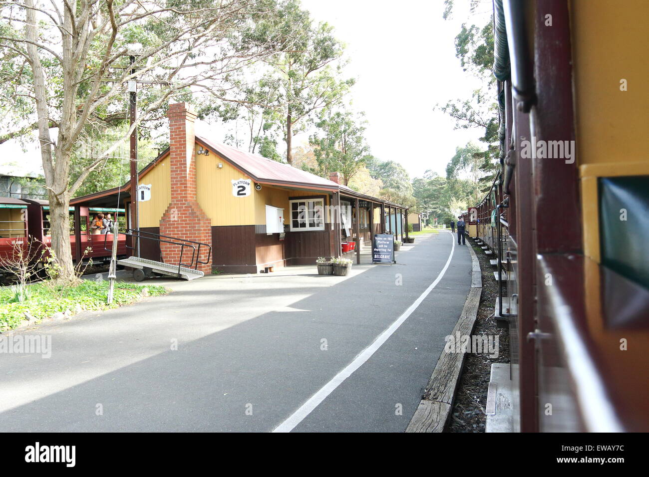 Puffing Billy steam train station Emerald  Victoria Australia - Stock Image