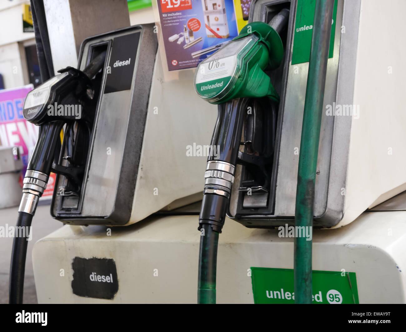 Unleaded Petrol And Diesel Fuel Pumps At A Self Service Petrol
