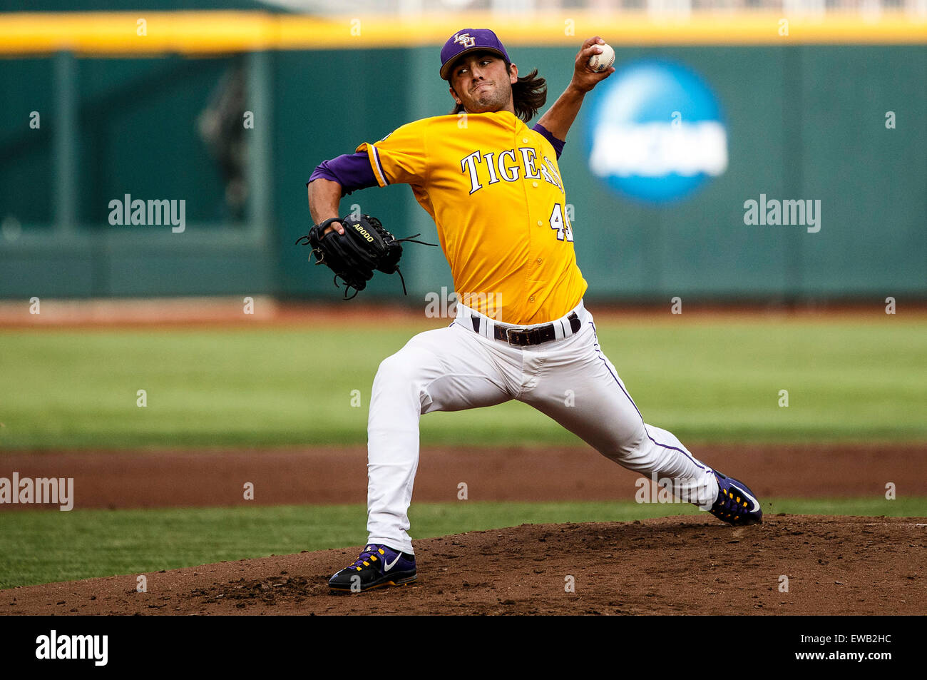 first rate 1ed15 8e1c1 June 18, 2015  LSU starting pitcher Zac Person  49 in 1st inning action during  game 10 of the 2015 NCAA Men s College World Series between LSU Tigers and  ...