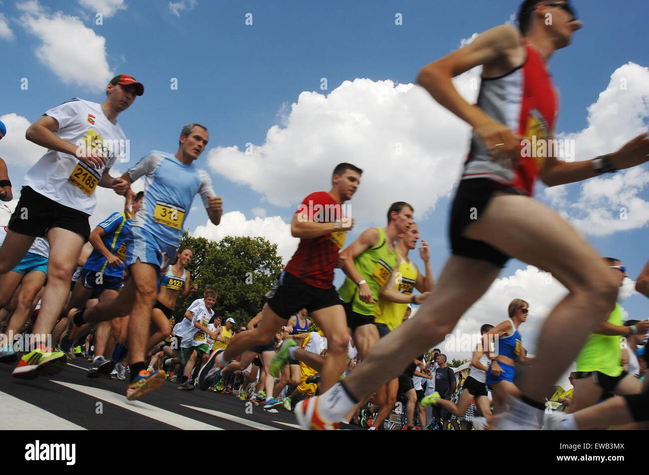 MOSCOW - JULY 13: Unidentified sportsmen on city event Sport of Moscow passing in Luzhniki on July 13, 2013, in - Stock Image