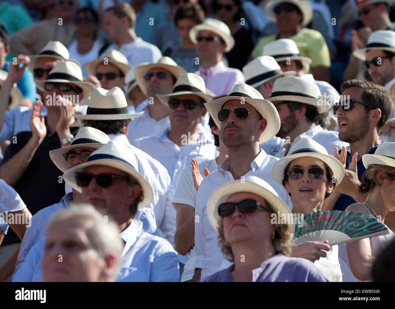 ac60be57dc52b Spectators wearing hats at the French Open 2015 - Stock Image
