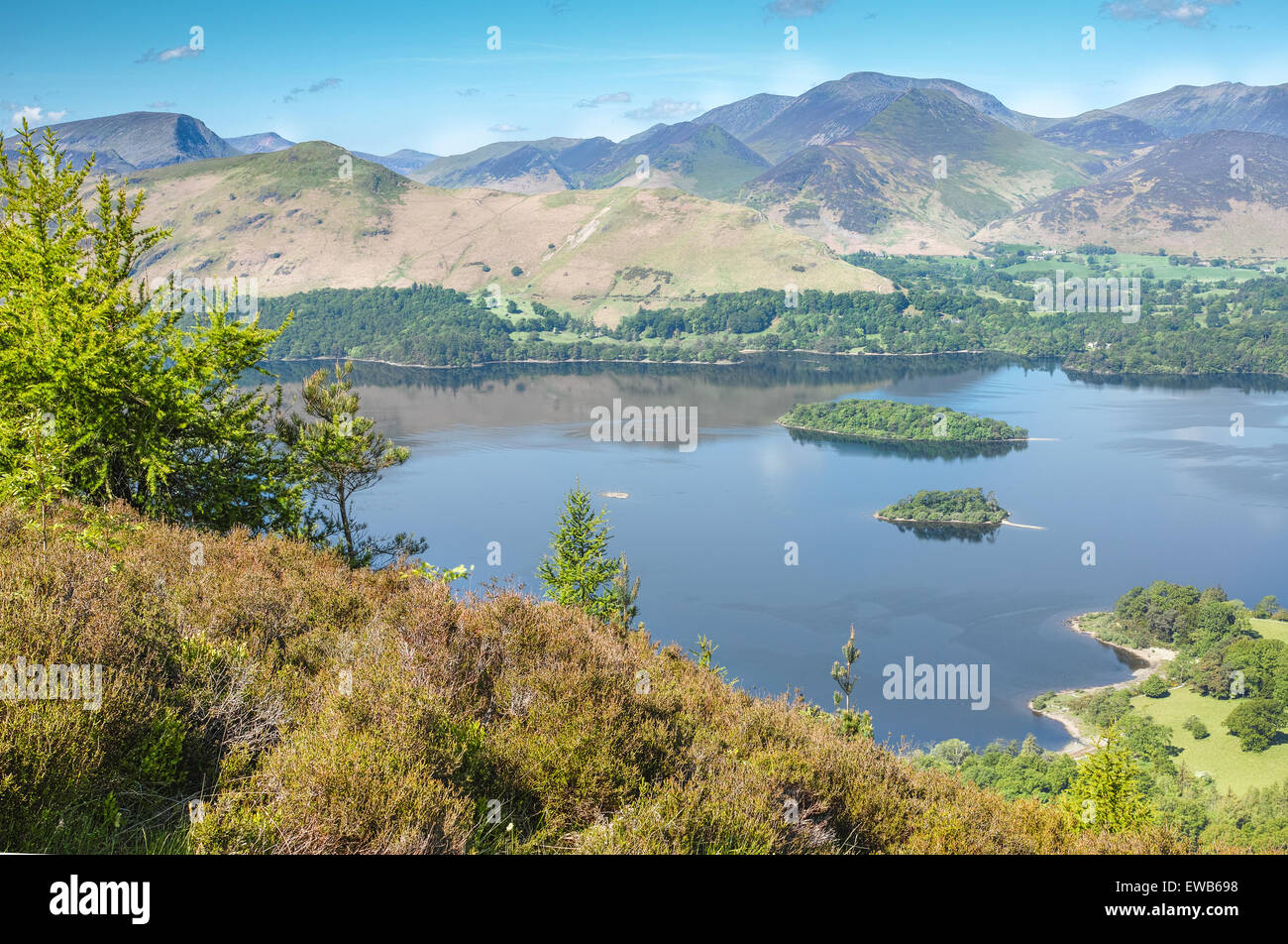 Lake Derwentwater with Cat Bells and Causey Pike beyond it Stock Photo