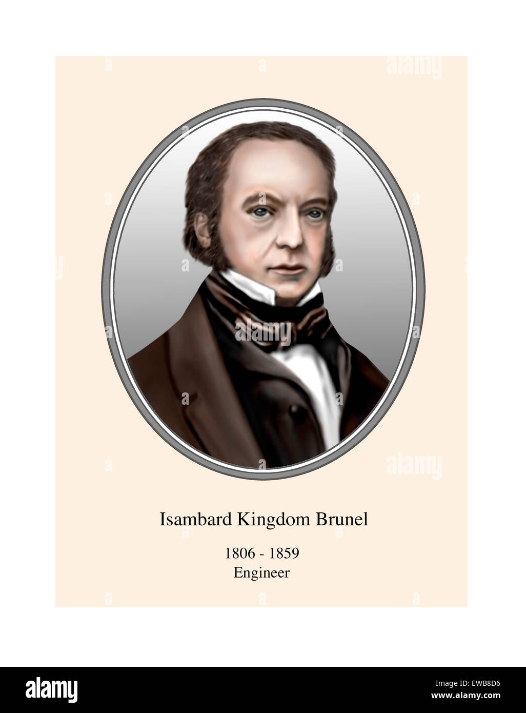 Isambard Kingdom Brunel Portrait Modern Illustration - Stock Image