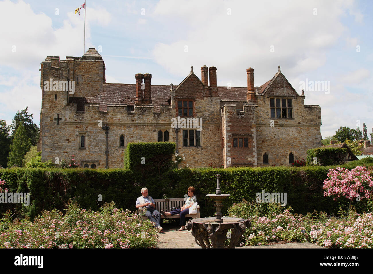 elderly couple enjoy the gardens at Hever Castle in Kent UK - Stock Image