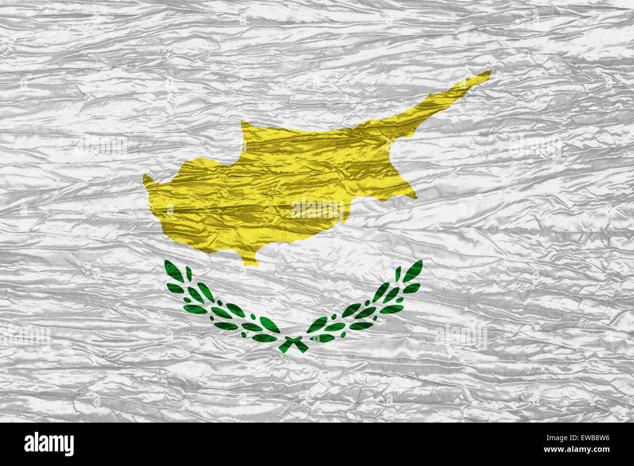 Cyprus flag or Cypriot banner on canvas texture - Stock Image
