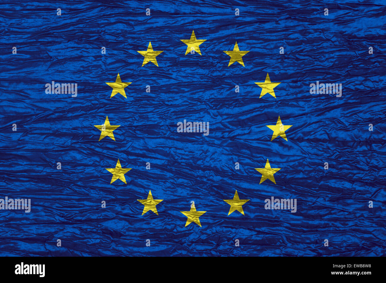 European Union flag of or Europe banner on canvas texture - Stock Image