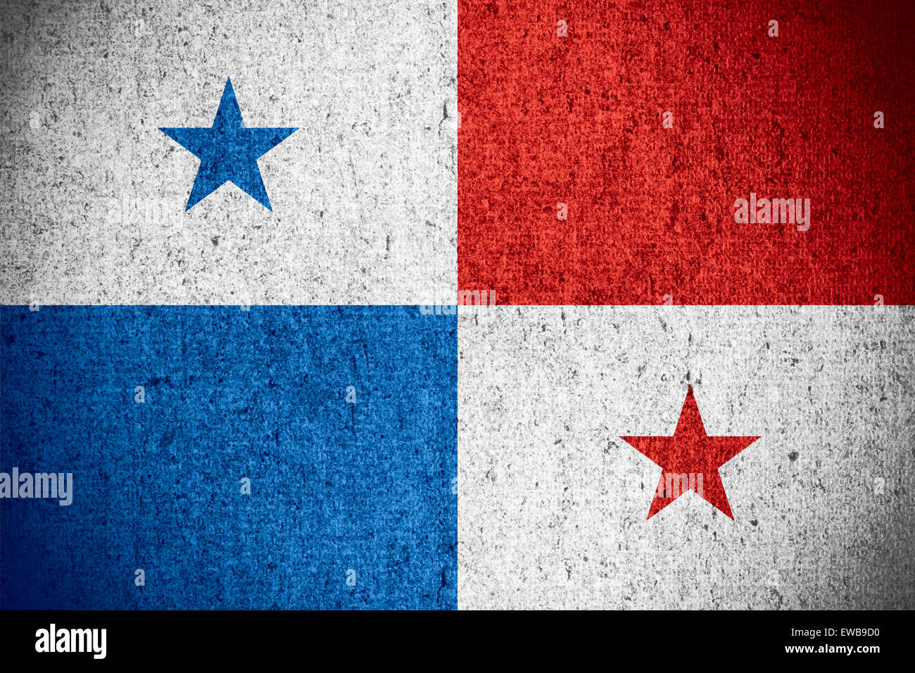flag of Panamaor Panamanian banner on rough pattern texture - Stock Image