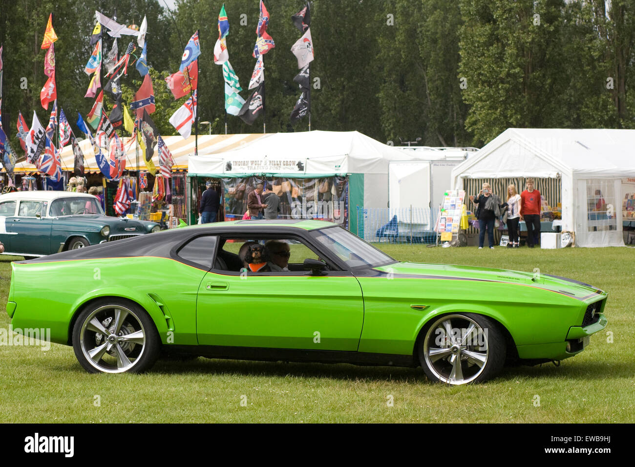 1969 lime green ford mustang fastback mach 1 stock image