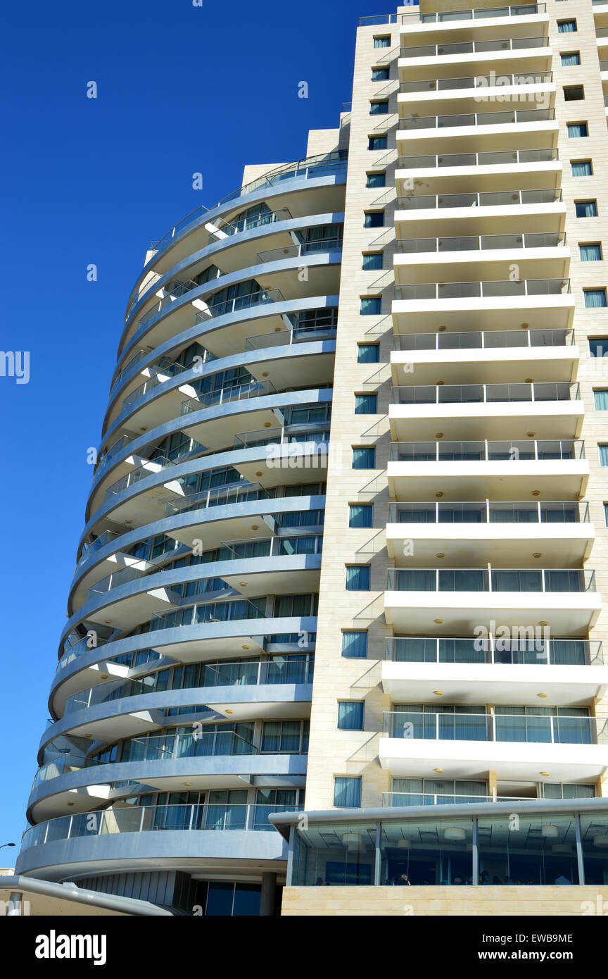 Abstract architecture with blue sky background. Photographed in tel Aviv, Israel - Stock Image