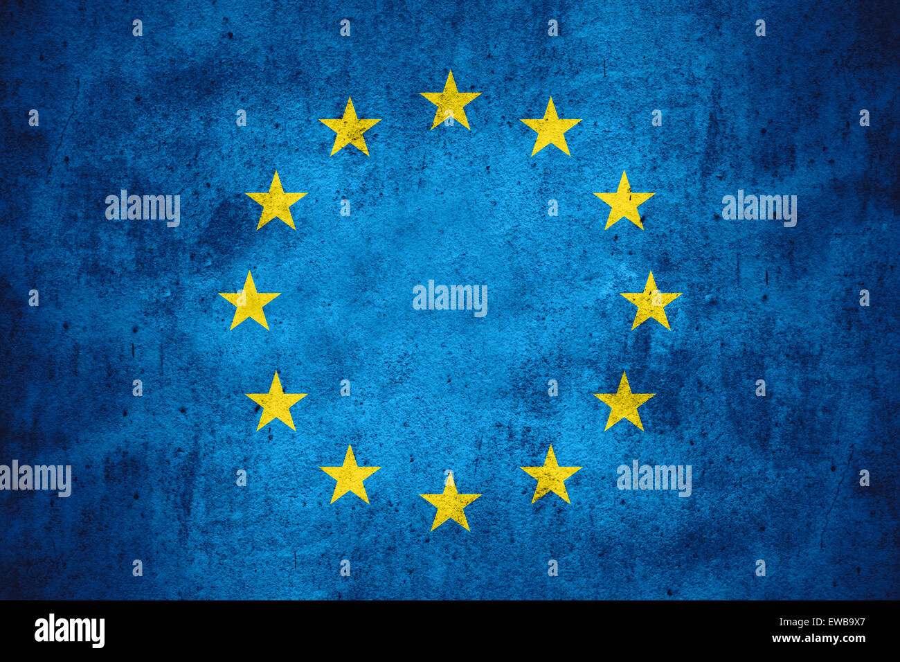 flag of European Union or banner on rough pattern texture background, Europe - Stock Image