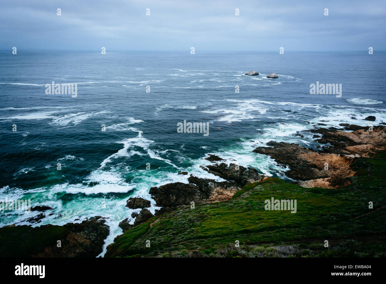 View of the Pacific Ocean from cliffs at Garrapata State Park, California. Stock Photo