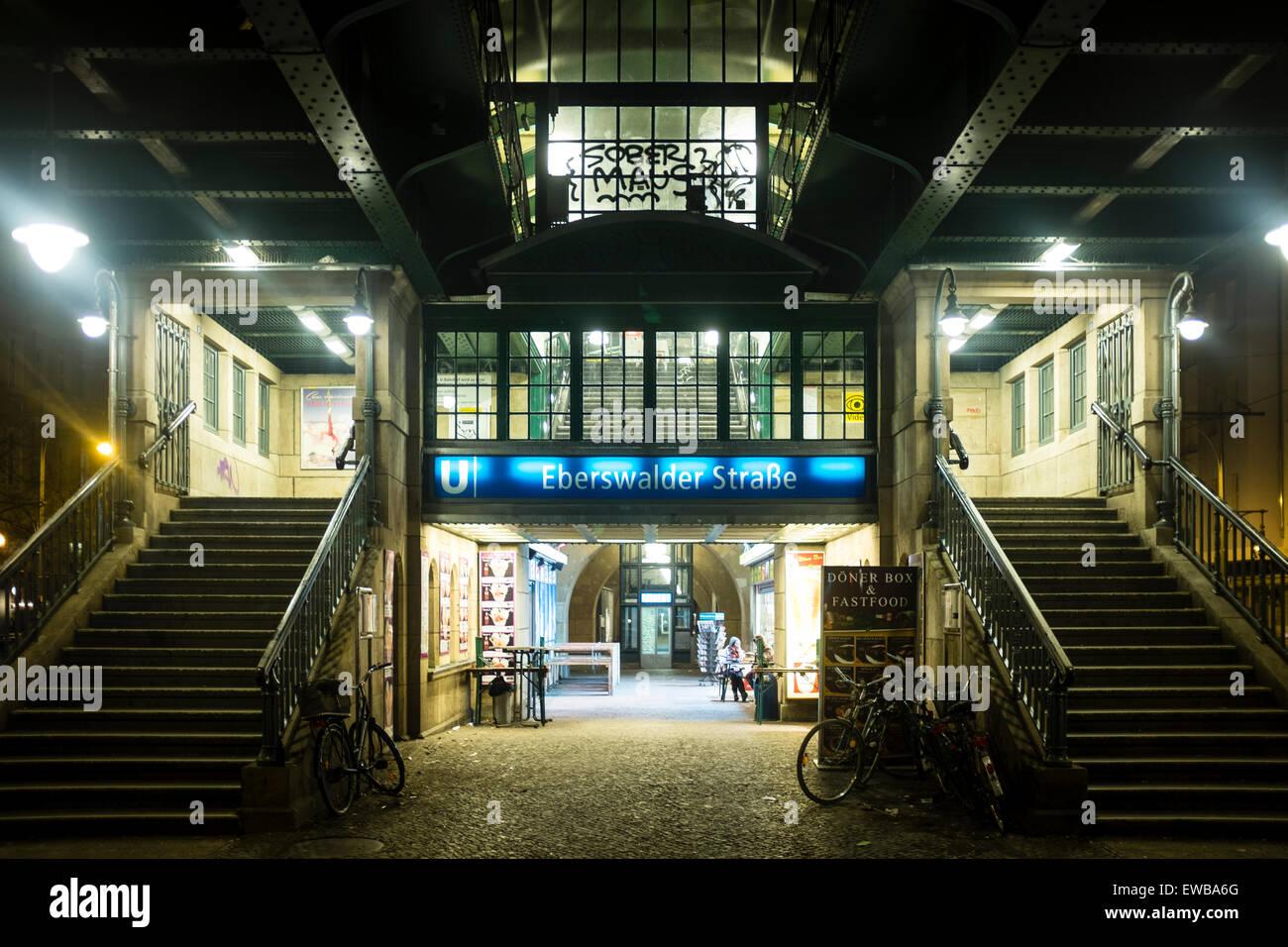 Subway train station Eberswalder Strasse, Berlin, Germany - Stock Image