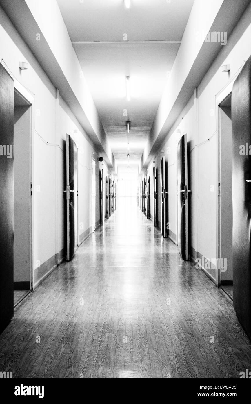 Corridor in the interrogation wing, former Stasi prison, Hohenschönhausen Memorial, Berlin, Germany Stock Photo