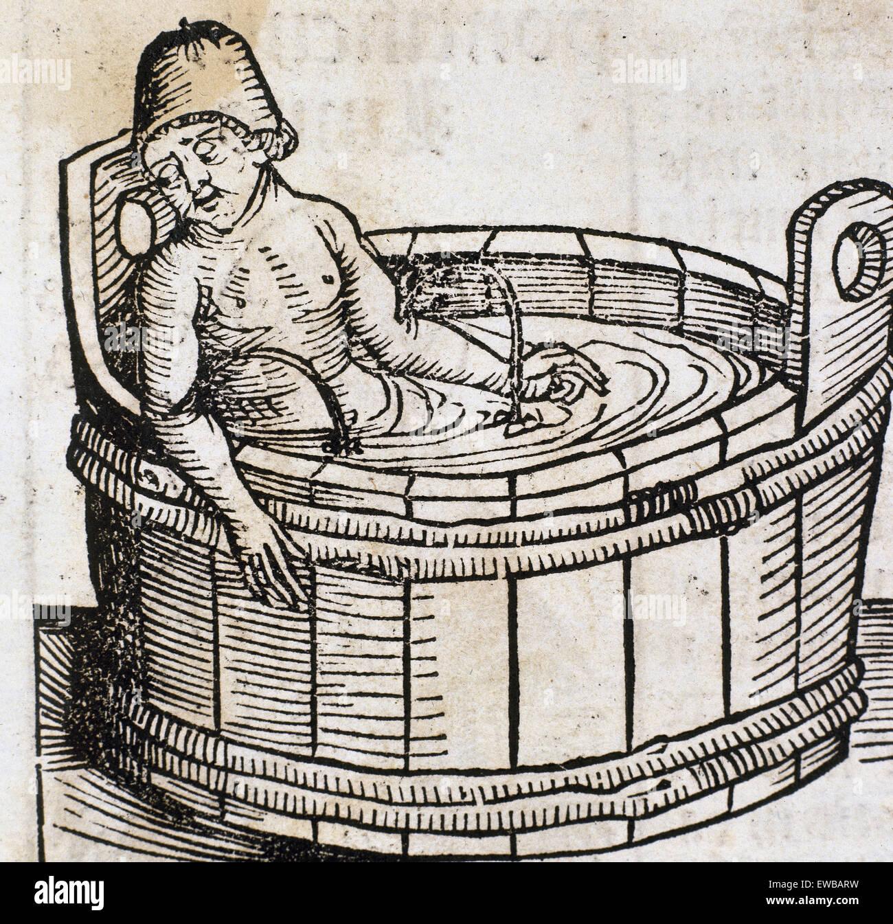 Seneca the Younger, (4 BC-65 AD). Roman Stoic philosopher, statesman and dramatist. Seneca slitting his wrists. - Stock Image