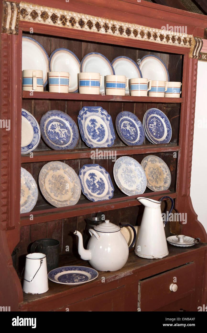 Ireland, Co Wexford, Johnstown Castle, Irish Agricultural Museum, farmhouse dresser full of crockery - Stock Image