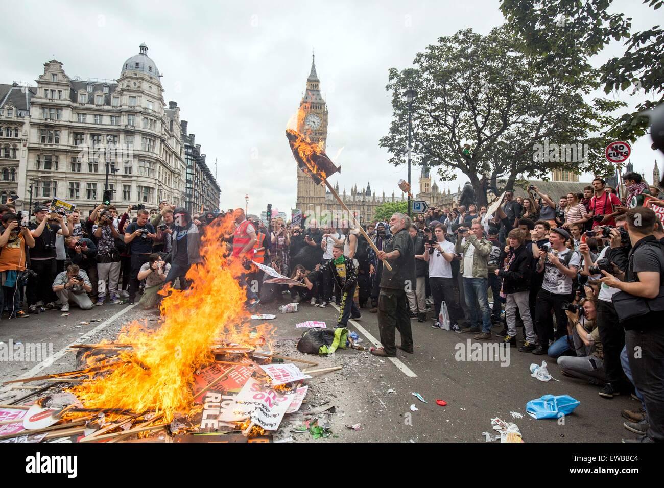 Anti austerity No Cuts protest march demo London - Stock Image