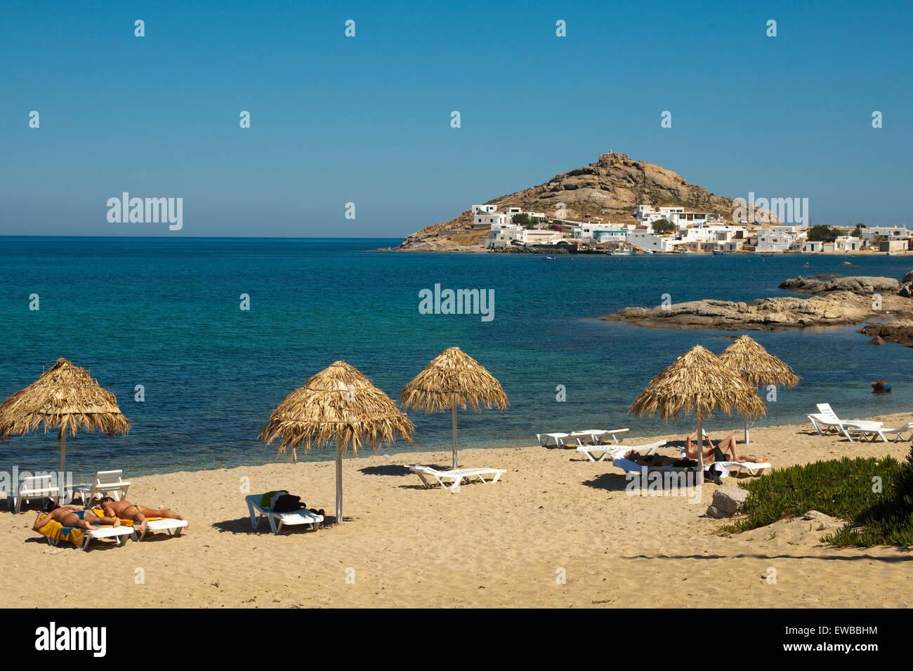 Griechenland, Kykladen, Mykonos, Halbinsel Divounia und Kalafati Strand Stock Photo