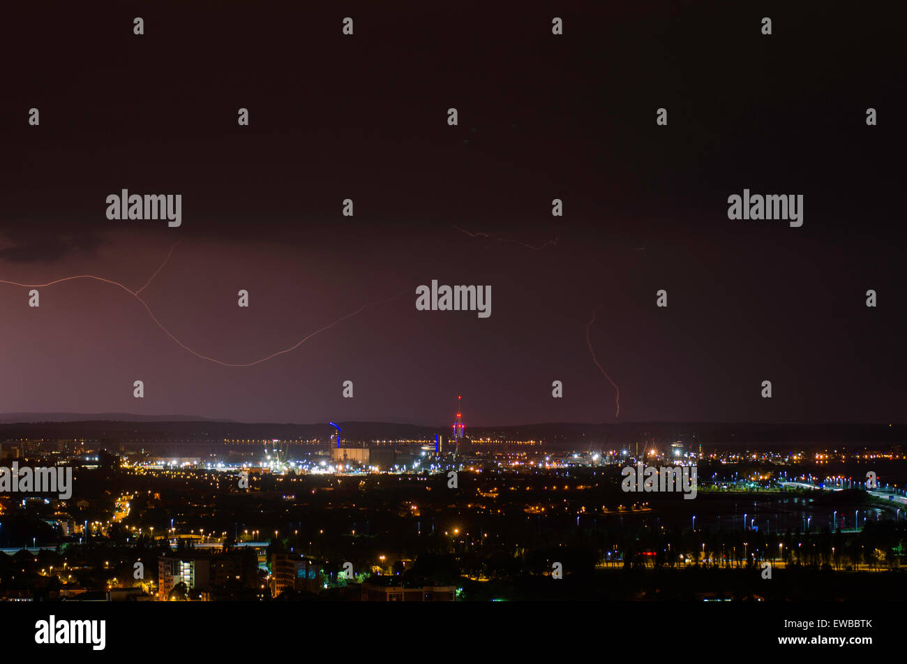 Lightning strike and Spinnaker Tower at Portsmouth, Hampshire, England, South UK Stock Photo
