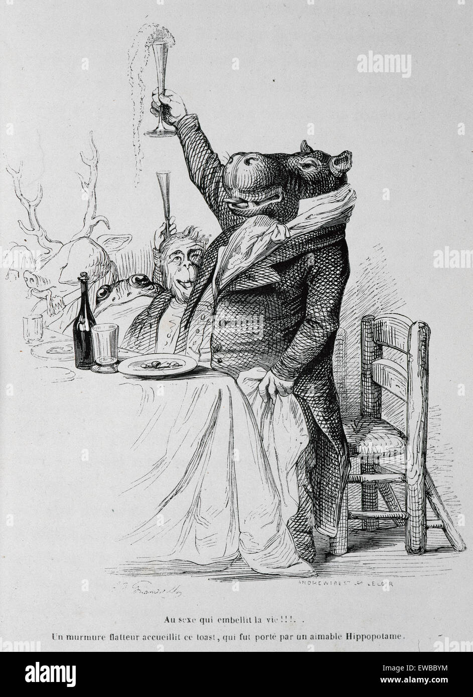 J.J. Grandville (pseudonym of Jean Ignace Isidore Gerard) (1803-1847). French caricaturist. The private and public - Stock Image