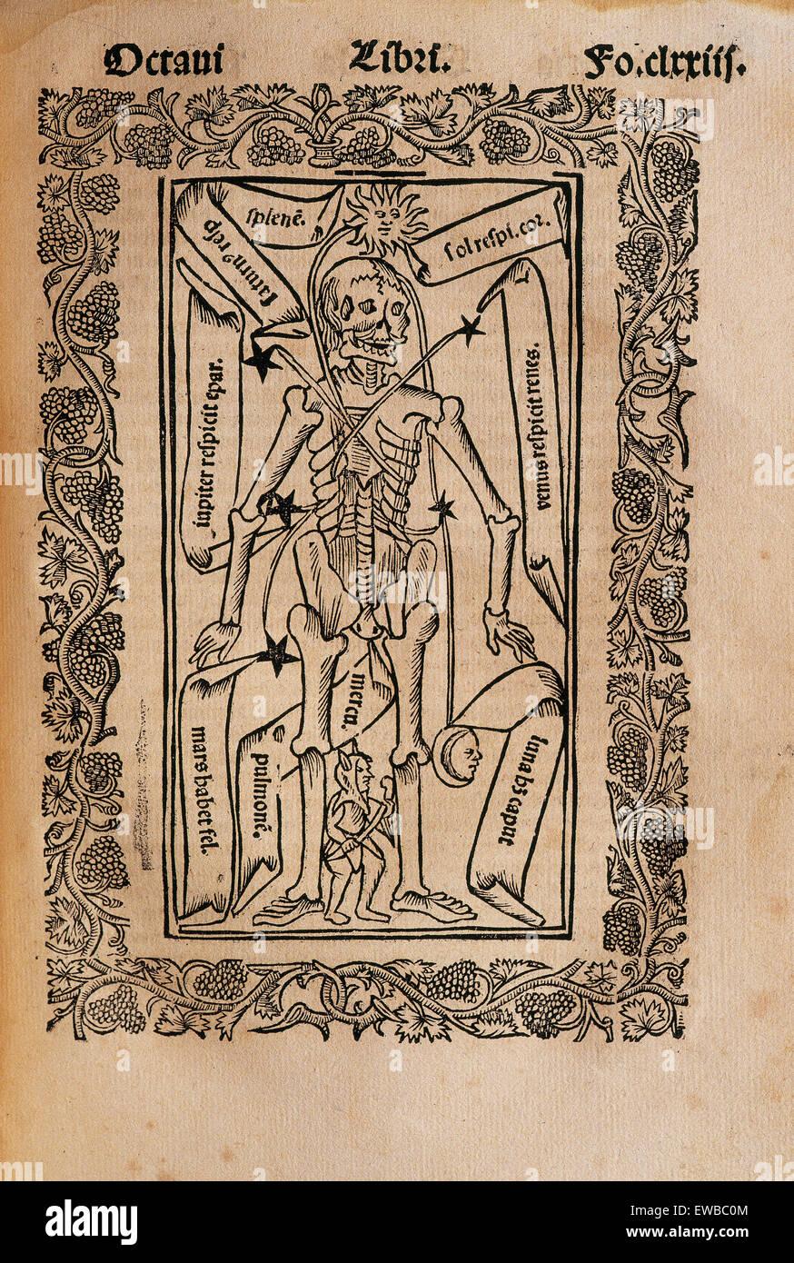 Ramon Llull (1235-1316). Spanish writer and philosopher.  Practica Compendiosa Artis Raymundi Lulli, 1523. Book - Stock Image