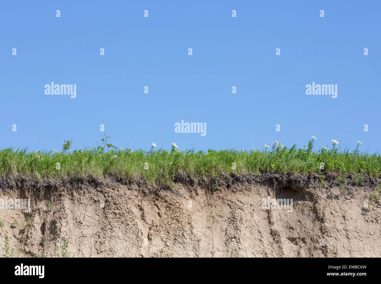 Ravine or gully cut with soil, grass and blue sky - Stock Image