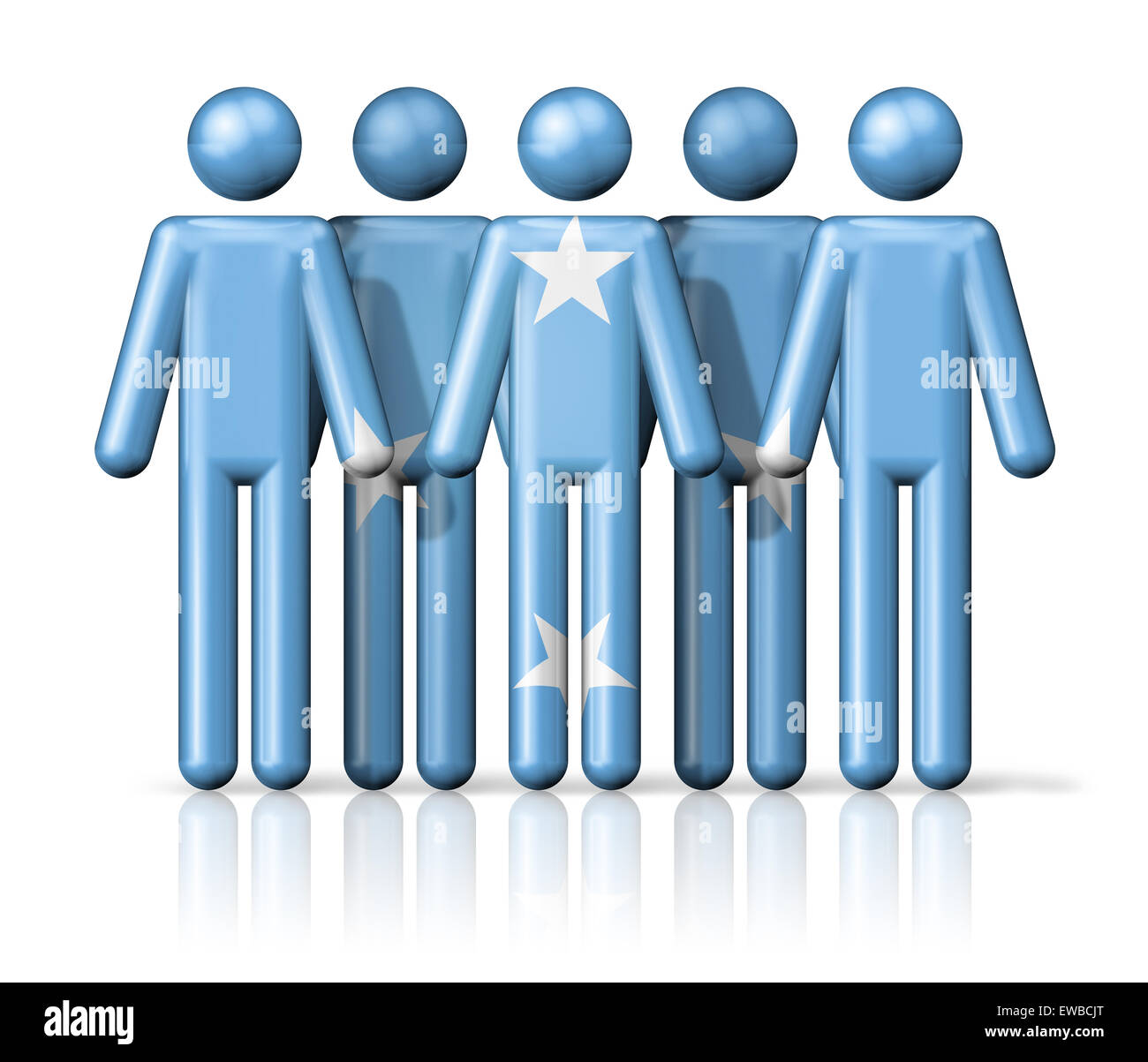 Flag of Micronesia on stick figure - national and social community symbol 3D icon - Stock Image
