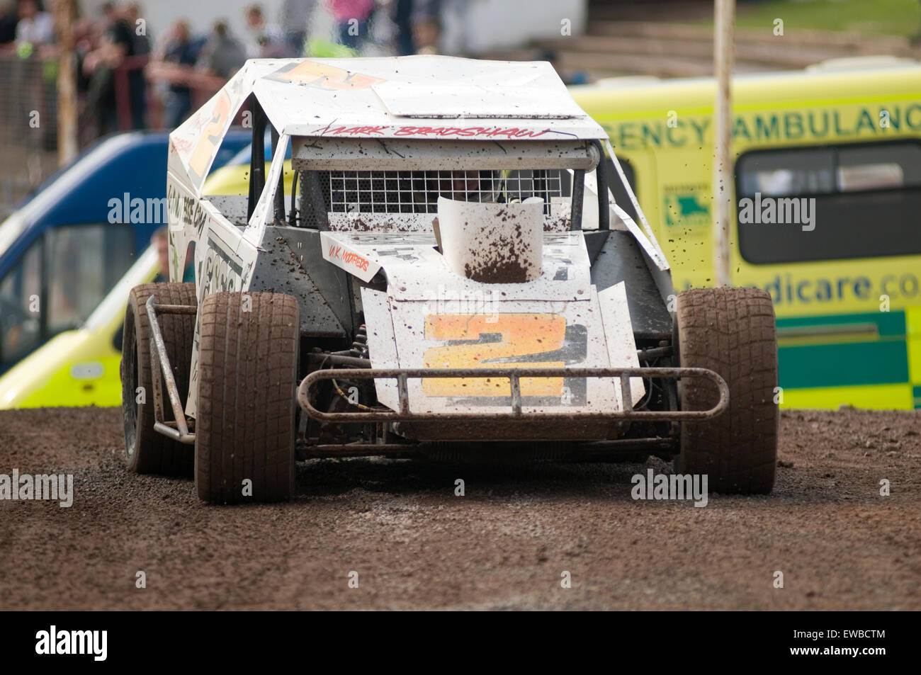 modified stock car cars race racing races dirt oval track tracks short track motorcycle engined engine engines - Stock Image
