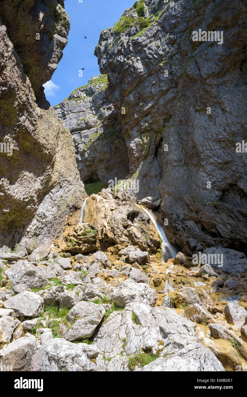 The waterfalls at Gordale Scar, a limestone ravine near Malham, North Yorkshire, England Stock Photo