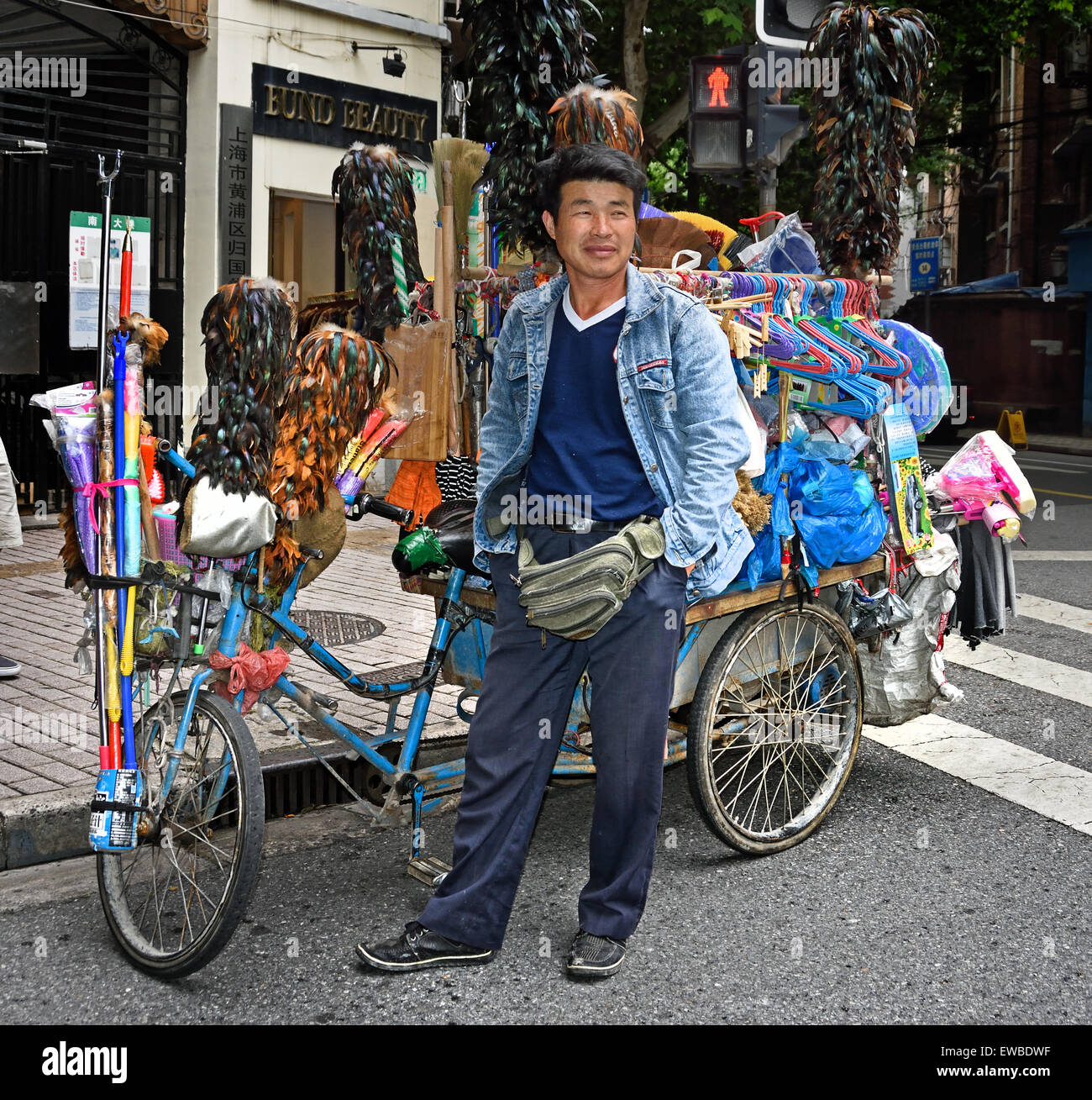 Vendor Makes Another Sale: Shanghai China Chinese Hawker Vendor Peddler Bike Stock
