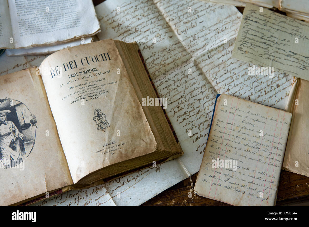 Very old Italian cook book with hand written recipes - Stock Image
