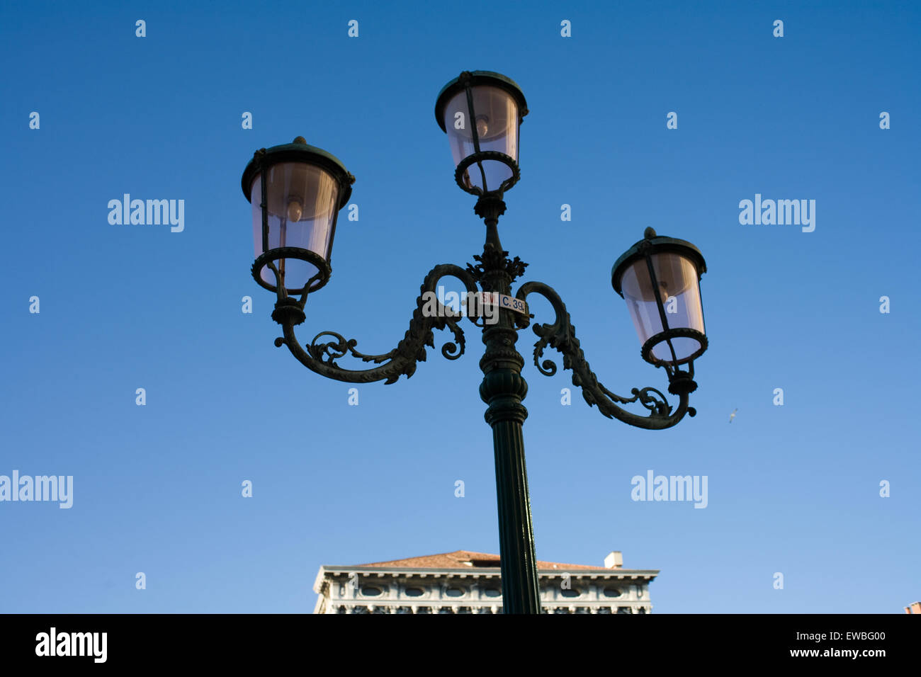 Venice, Italy. streetlight and blue sky - Stock Image