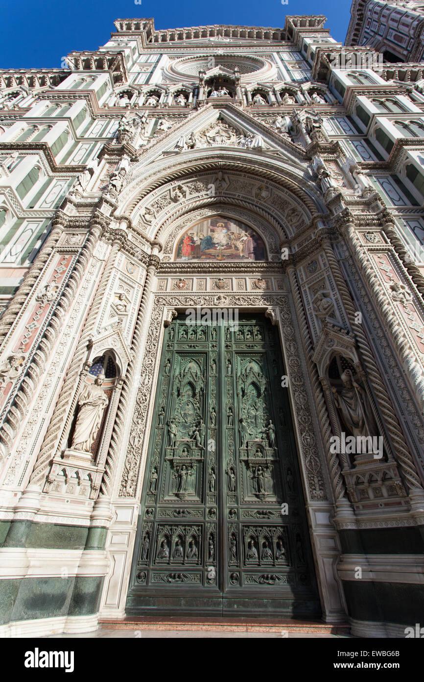 The Basilica di Santa Maria del Fiore, the front doors, Florence, Italy - Stock Image