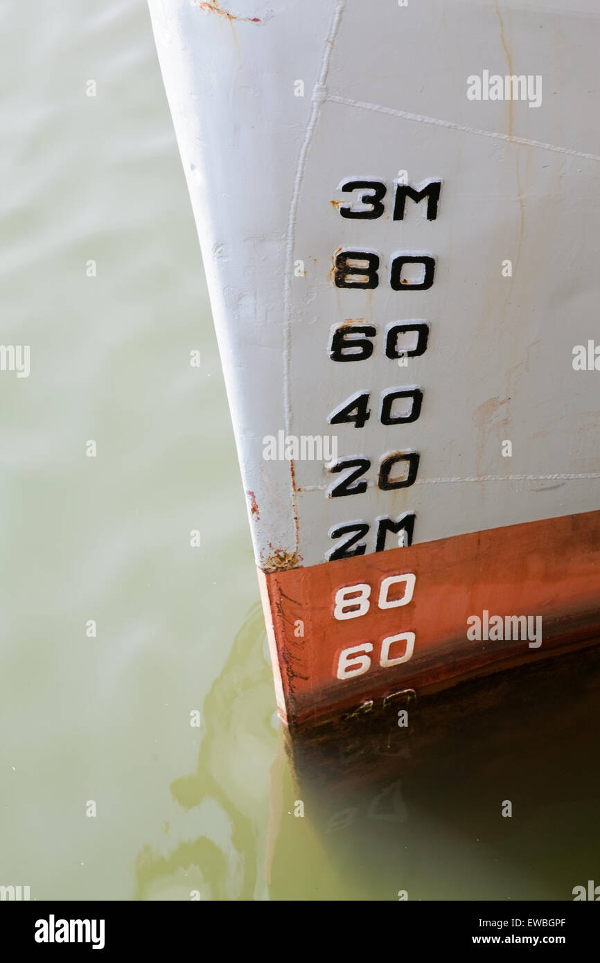 Depth guage on side of boat in docks - Stock Image