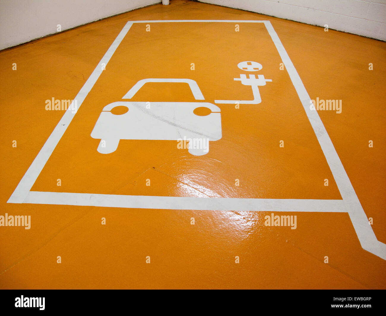 Car parking space for electric vehicles Stock Photo