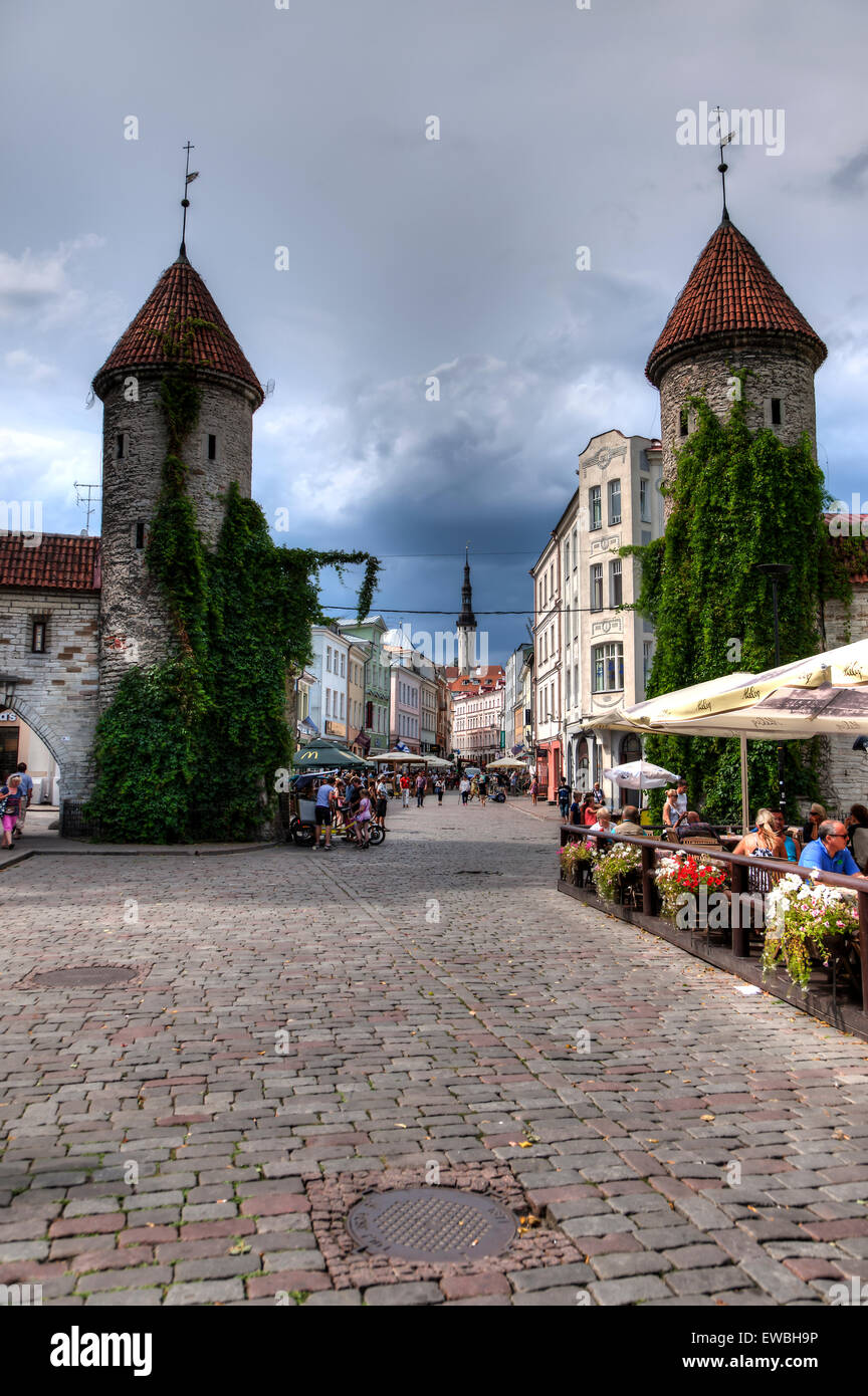 Estonia Tallinn Old Town Viru Gate - Stock Image