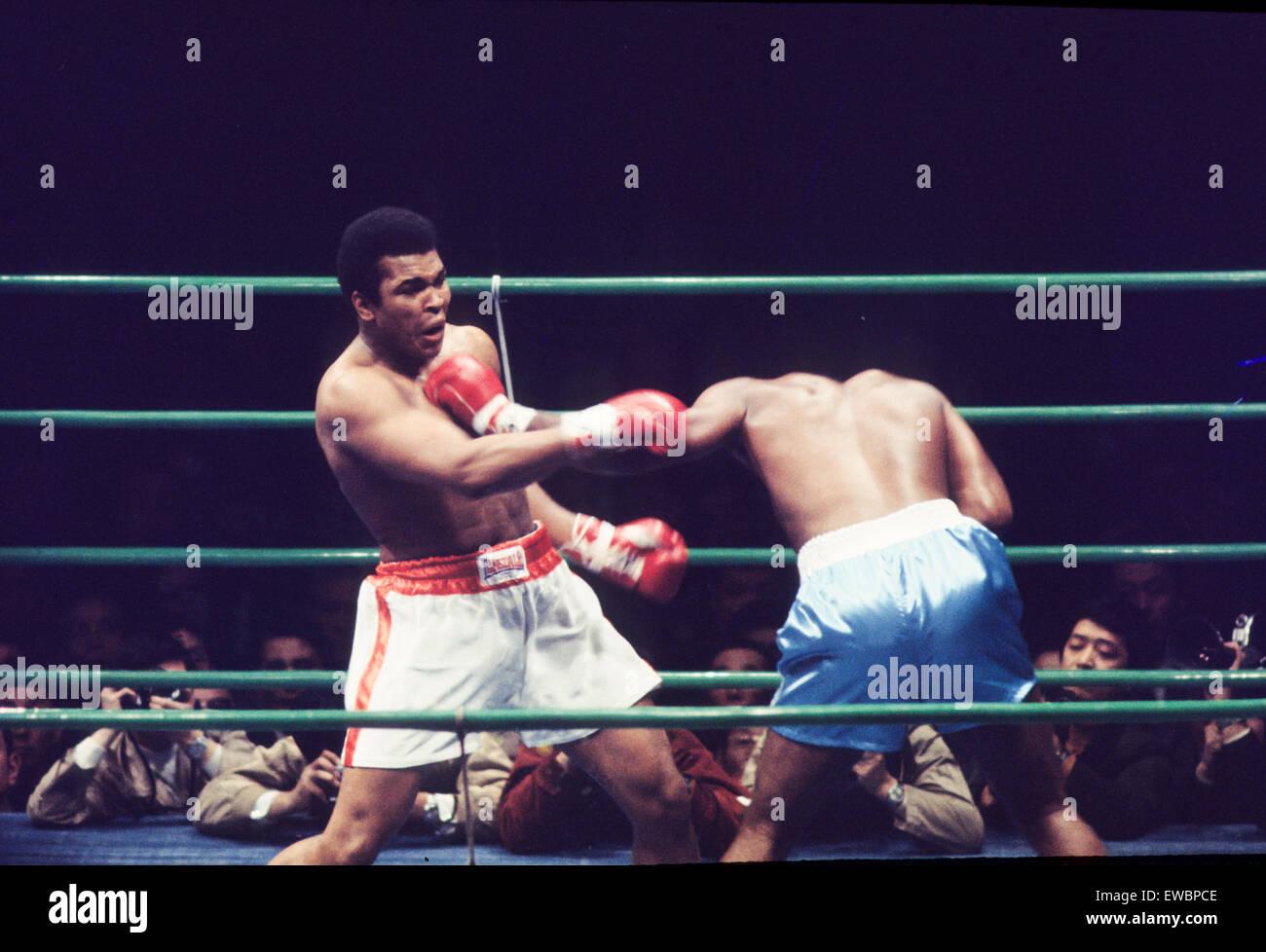 muhammad ali,cassius clay vs joe frazier,1975 - Stock Image