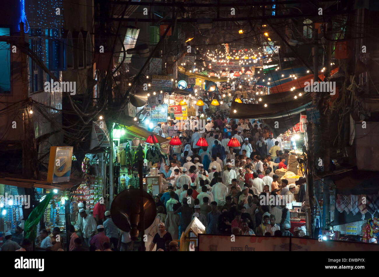 Chandni Chowk at night during Ramadan. Old Delhi, India. Stock Photo