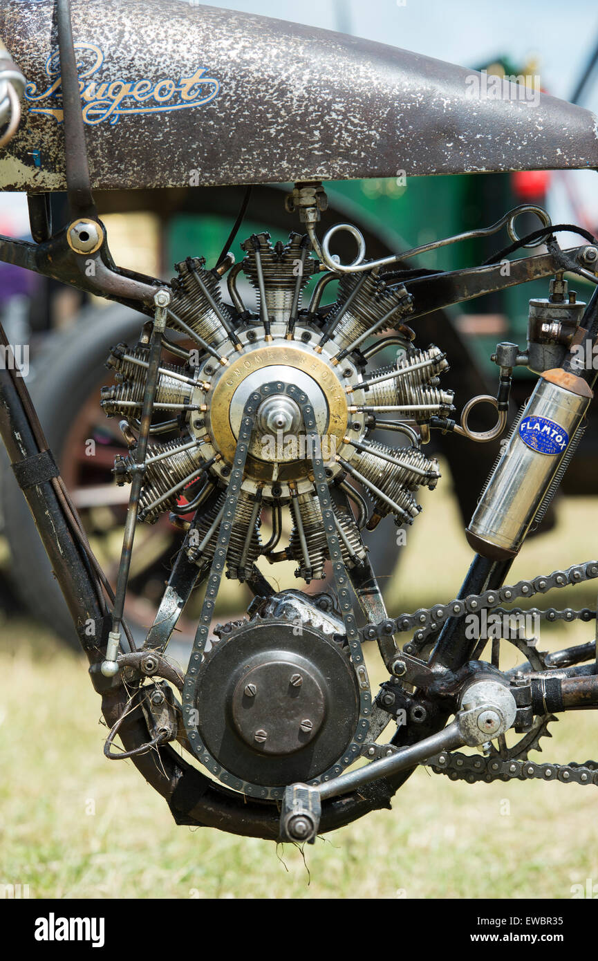 AeroPeu. 1930 Peugeot P50T oval board track racer with a scaled 9 cylinder radial aircraft engine at Flywheel festival. Stock Photo