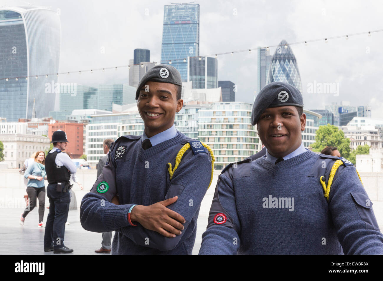 London, UK. 22 June 2015. Young Royal Airforce Air Cadets before the event. Boris Johnson, the Mayor of London, - Stock Image